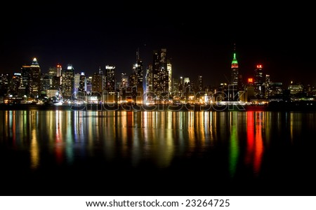 Skyline of New York City, from New Jersey. - stock photo