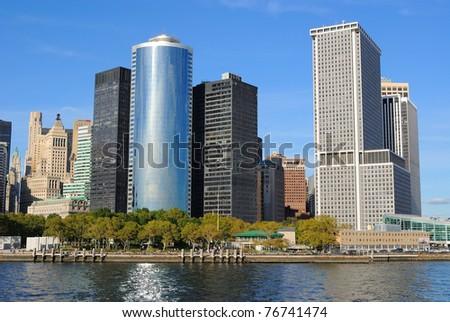 Skyline of New York City from New York Bay. - stock photo