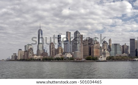 Skyline of New York City Manhattan viewed from New Jersey