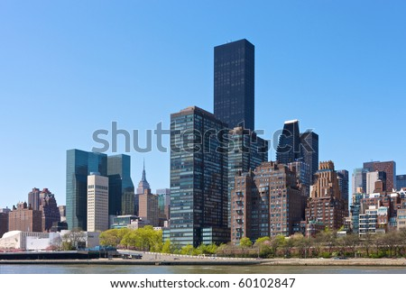 Skyline of New York city, seen from the Hudson River. - stock photo