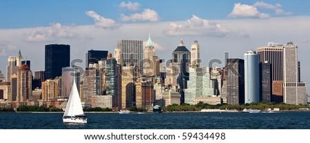Skyline of New York City with Hudson Bay - stock photo