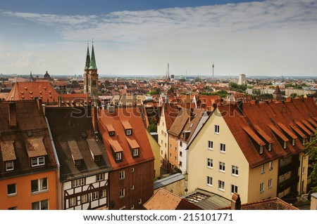 Skyline of Nuremberg, Germany - stock photo