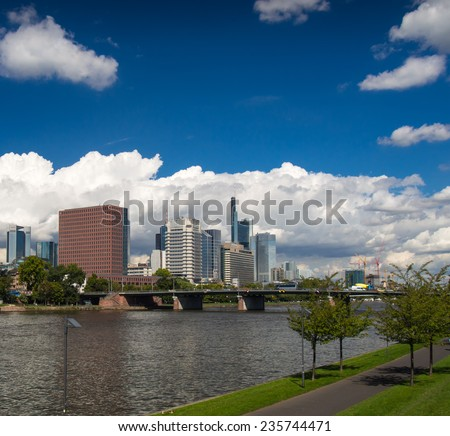 Skyline of office buildings in Frankfurt, Germany, one of the most fascinating financial areas of Europe