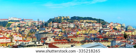 Skyline of Old Town of Lisbon at sunset. Portugal  - stock photo