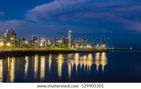 Skyline of Panama City at blue hour