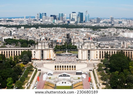 Skyline of Paris city towards La Defense district  from Tour d'Eiffel, France - stock photo