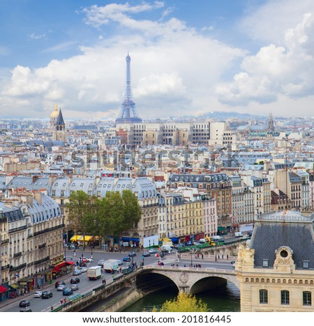 skyline of Paris city  with blue sky, France