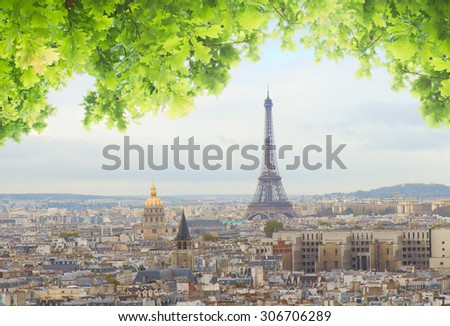 skyline of Paris city with eiffel tower from above at summer day, France