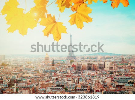 skyline of Paris city with eiffel tower from above at sunny autumn day, France, retro toned - stock photo