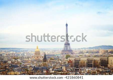 skyline of Paris city with eiffel tower from above, France, toned - stock photo
