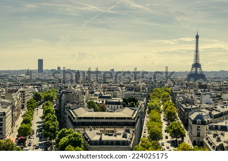 Skyline of Paris view from Triumphal arch - stock photo