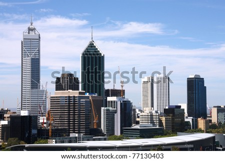 Skyline of Perth from Kings Park. Australian city view.