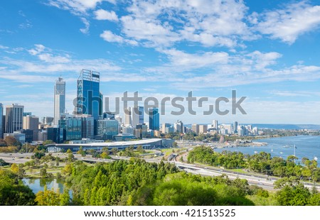 skyline of Perth with city central business district at the noon - stock photo