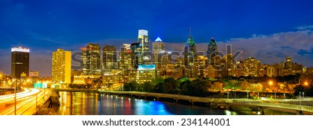 Skyline of Philadelphia downtown at dusk, Pennsylvania, USA - stock photo