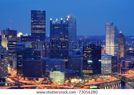 Skyline of Pittsburgh, Pennsylvania with corporate building logos removed. - stock photo