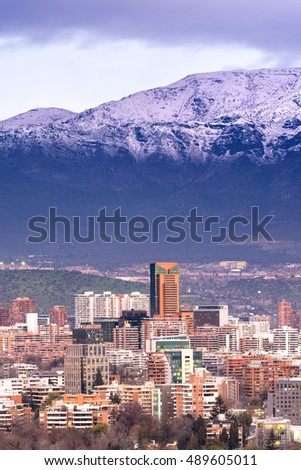 Skyline of residential and office buildings in the wealthy districts of Vitacura and Las Condes, Santiago de Chile