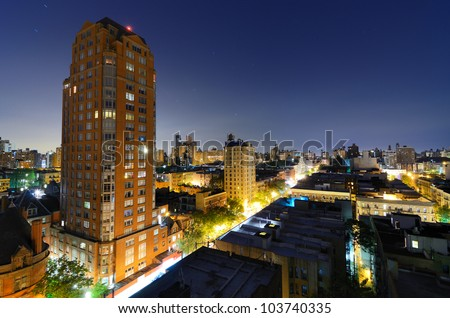 skyline of residential buildings in the Upper West Side of Manhattan at night - stock photo
