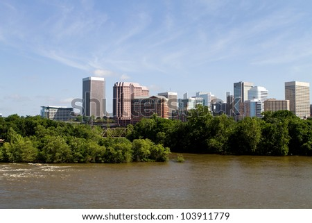 Skyline of Richmond, Virginia viewed from across the James River.