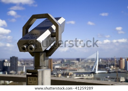 Skyline of Rotterdam from Euromast tower. The Netherlands - stock photo