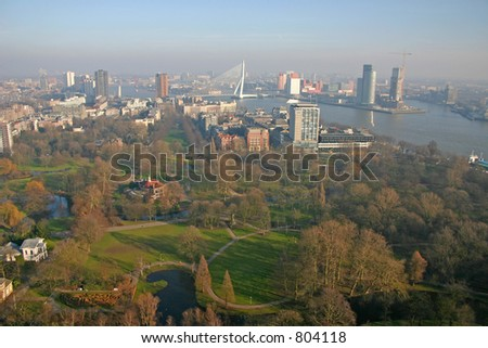 Skyline of Rotterdam (The Netherlands) - stock photo