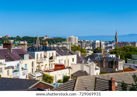 Skyline of Saint Helier, Jersey, Channel Islands, UK