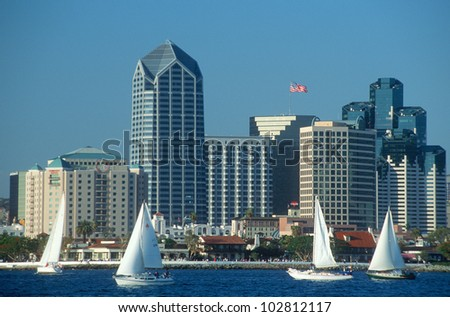 Skyline of San Diego, California from Coronado Bay