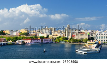 Skyline of San Juan, Puerto Rico - stock photo