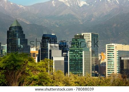 Skyline of Santiago de Chile - stock photo