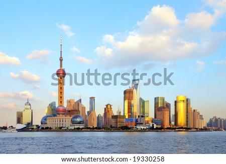 Skyline of Shanghai, China. - stock photo