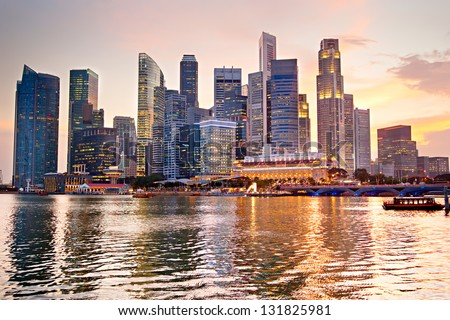 Skyline of Singapore at a beautiful sunset