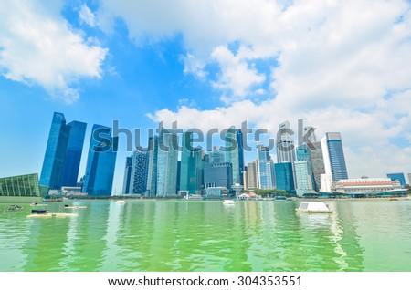 Skyline of Singapore building - stock photo