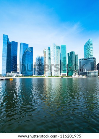 Skyline of Singapore business district Marina Bay. - stock photo