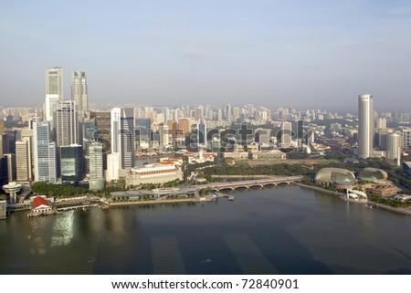 Skyline of Singapore business district, Singapore - stock photo