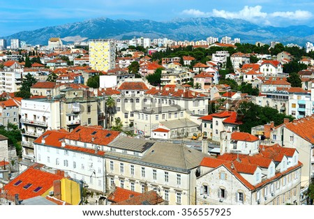 Skyline of Split, Croatia. View from the tower of Cathedral of Saint Domnius