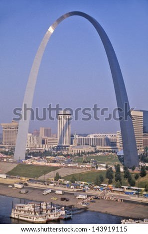Skyline of St. Louis, MO with Arch - stock photo