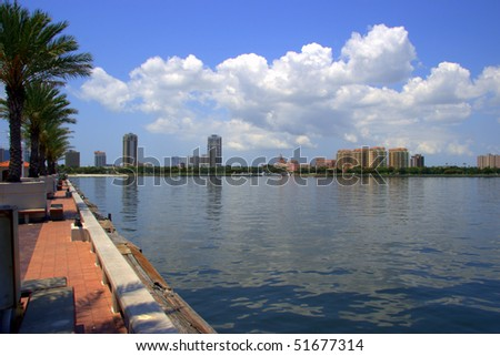 Skyline of St Petersburg Florida from The Pier - stock photo