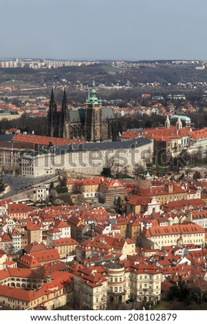 Skyline of St. Vitus Cathedral from Petrin hill in Prague