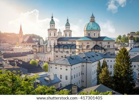 Skyline of Stadt Salzburg with Cathedral in summer at sunset, Salzburg, Austria - stock photo