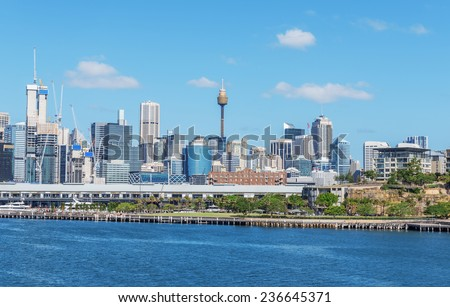 skyline of Sydney with city central business district - stock photo