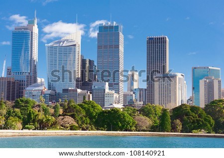 skyline of Sydney with city central business district at the noon - stock photo