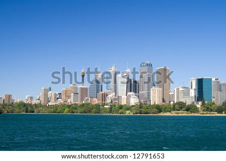 Skyline of Sydney with the Sydney Tower and skyscrapers