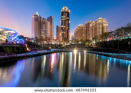 skyline of taichung city at Maple Garden