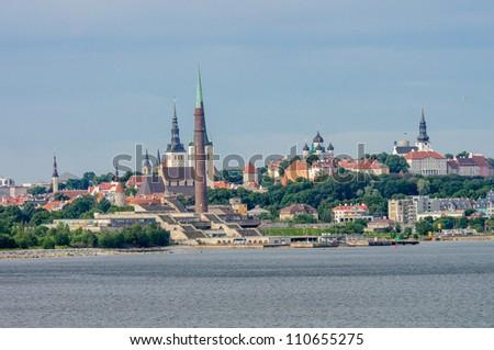 Skyline of Tallinn, Estonia, taken from the Baltic Sea - stock photo