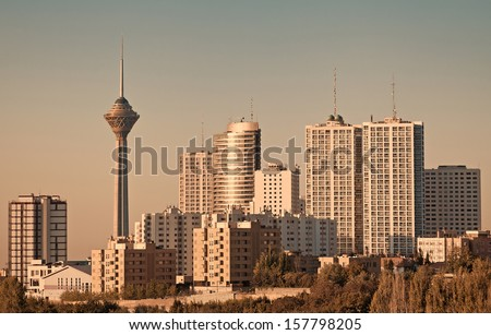Skyline of Tehran including its famous landmark, the Milad Tower. - stock photo