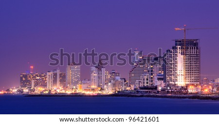 Skyline of Tel Aviv, Israel along the Mediterranean coast. - stock photo