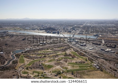 Skyline of Tempe, Arizona including town lake and campus looking south - stock photo