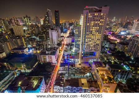 Skyline of Thai capital Bangkok. It is a sprawling metropolis known for its ornate shrines and vibrant street life.