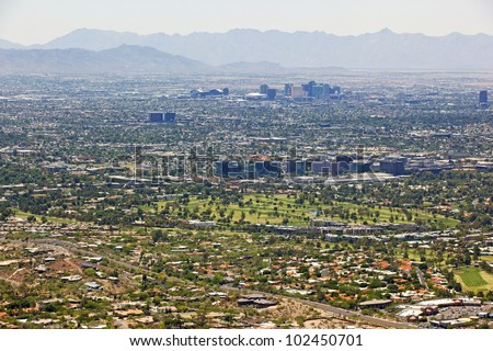 Skyline of the city of Phoenix, Arizona looking from the northeast to the southwest - stock photo