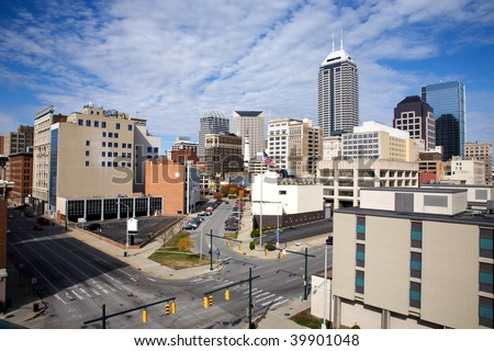 skyline of the downtown area of Indianapolis Indiana - stock photo