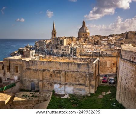 Skyline of the Maltese Capital city Valletta, Malta - stock photo